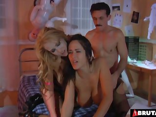 Dirty old man fucks a hot slut up the ass erotically