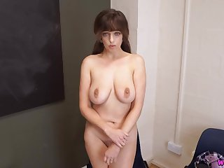 Big tits British schoolgirl strips slowly