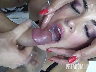 Premium Bukkake - Nicole swallows 59 huge mouthful cumshots