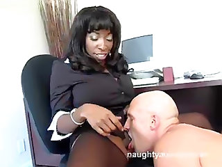 Hot black office lady wants white cock