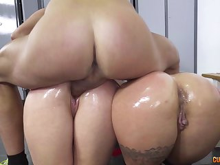 Busty babes in the breathtaking doggy style threesome adventure
